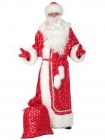 Дед мороз плюш-серебр красн, ВЗР XL
