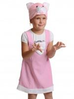 Кошечка розовая ткань-плюш