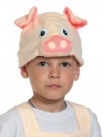 Поросёнок бежевый шапочка
