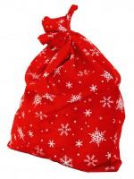 Мешок Деда мороза (красный со снежинками)