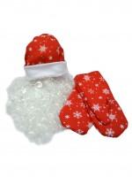 Набор Деда Мороза ВЗР. ткань-плюш красный (шапка, варежки, борода)
