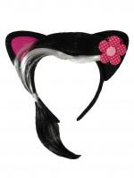 Ушки Кошки чёрные с фуксией, прядью и цветком