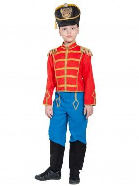 Гусар (замш) без сабли красно-синий с сапогами дет.   S