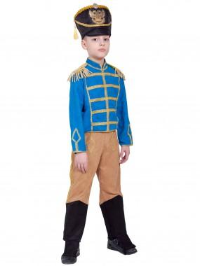Гусар (замш) без сабли сине-бежевый с сапогами дет.   S