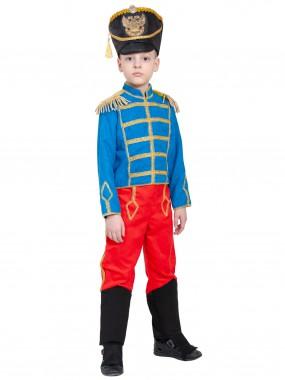 Гусар (замш) без сабли сине-красный с сапогами дет.  M