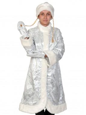 Снегурочка парча-норка серебро МИДИ ВЗР М