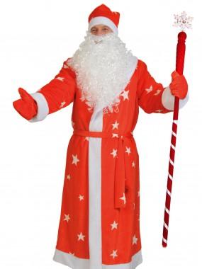 Дед мороз плюш красный ЗВЁЗДЫ, ВЗР XL