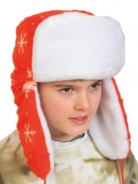 Шапка-ушанка красная
